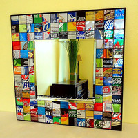 Recycled Soda Can - Recycled Beer Can - Mosaic Mirror - Man Cave - Upcycled