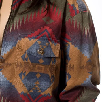 Southwestern tribal print oversized jacket top