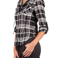 HOODED PLAID BUTTON UP - BLACK