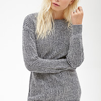 FOREVER 21 Marled Chunky Knit Sweater Navy/Cream