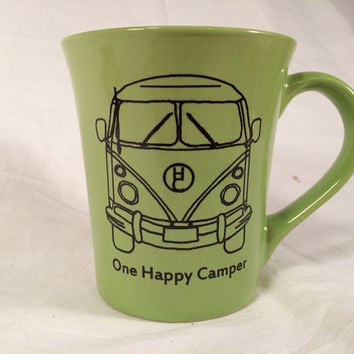 Happy camper green mug vanagon coffee mug