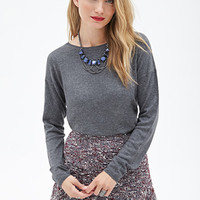 LOVE 21 Heathered Drop-Sleeve Sweater