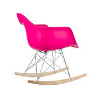 Modern Ash Wood Rocker in Fuchsia