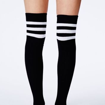 Missguided - Donata Striped Knee High Socks