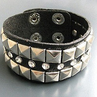 black leather with rivet cuff  bracelet women leather jewelry bangle cuff bracelet  men leather bracelet SL0066