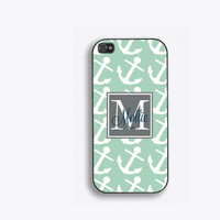 Sea Green Anchors Nautical Monogram Phone Case, for iPhone 5, iPhone 5s, iPhone 5c, iPhone 4, iPhone 4s, Galaxy S3, S4 and S5.  FCM143