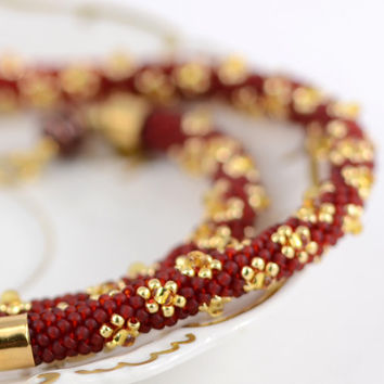 Red and Gold - Bead Crochet Necklace  Christmas Necklace Red Gold Jewelry  Beadwork  Beaded Necklace Traditional Modern Gift for Her