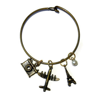 Brass Travel Charm Bangle Bracelet