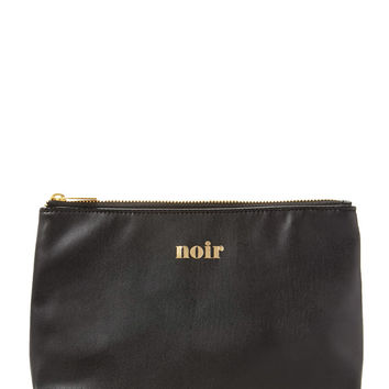 FOREVER 21 Noir Cosmetic Pouch Black/Gold One
