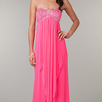 Long Strapless Neon Pink Prom Dress by LA Glo