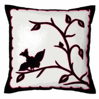 Sandor Applique Hollhza Bird pillow - Black on White w/ Pink accent