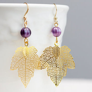 Maple Leaf Earrings Matte Filigree Pendant Purple Melon Bead - E043