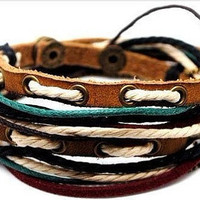 Jewelry bangle leather bracelet buckle bracelet men bracelet women bracelet made of ropes metal  leather cuff SH-1764