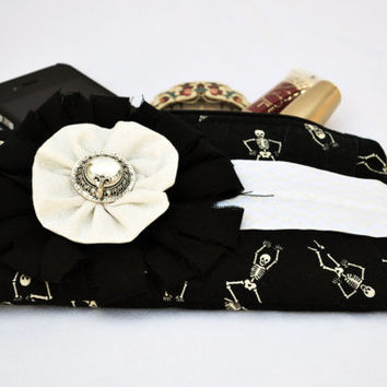 Gothic skeletons, lolita pleated Clutch Purse, zippered Pouch, summer Clutch, wristlet