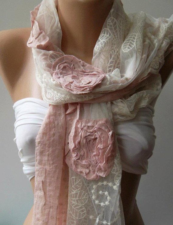 ON SALE/Pink -- Elegance Shawl -- Scarf with Lace Edge--