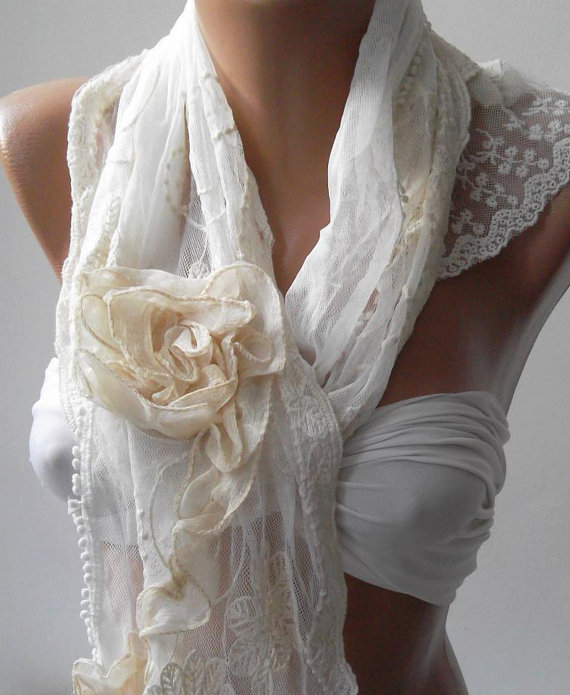Pearl White - Elegance Shawl -Scarf with Lace Edge--
