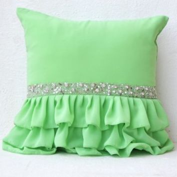 Green Ruffled Sequin Pillow Covers - Decorative Pillow Covers - Green Cushion Covers - Gift Pillow Covers -Georgette Pillow Covers - Cushion Covers - Couch Pillow Covers - Green Sham (16x16)