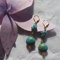 Turquoise Mosaic and Nugget Earrings