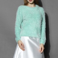 Basic Fluffy Sweater in Mint Green S/M