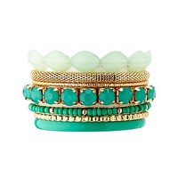 Bead, Stone & Chain Stacking Bracelets - 7 Pack - Mint