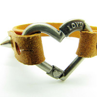 brown leather heart-shape bracelet with screw buckle women or men jewelry bangle women leather bracelet 791A