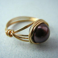 Swarovski Burgundy Pearl Ring - Wire Wrap Ring - Custom Size Ring