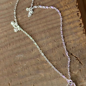 Tiny Hexagon Necklace in Sterling Silver, Honeycomb Charm