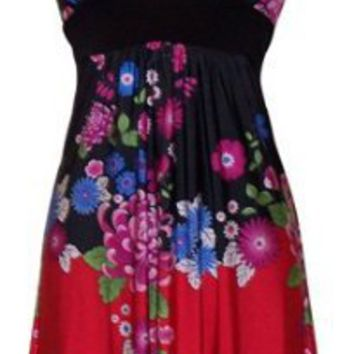 PacificPlex Asian Floral Halter Dress Knee-Length, Black Multi, X-Large