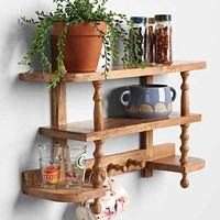 Plum & Bow Spindle Curio Shelf- Brown One