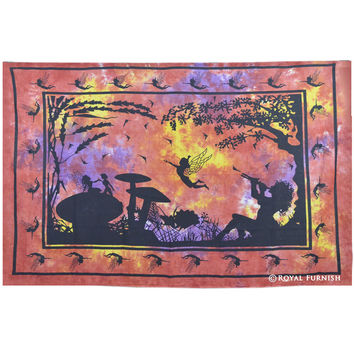 Red Indian Angel in Wonderland (Fairyland) Hippie Tapestry Wall Hanging Decor Art on RoyalFurnish.com