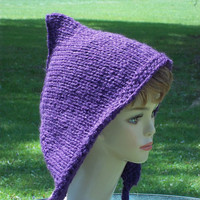 Knit Pixie Hat, Elf Hat,  Purple, Women