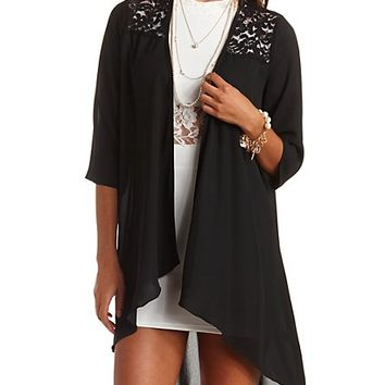 LACE YOKE HIGH-LOW CHIFFON KIMONO TOP