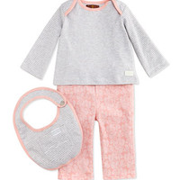 7 For All Mankind Infant Striped Tee, Pant & Bib Set, Pink/Gray, 0-9 Months