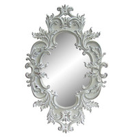 Antique White Traditional Oval 60-inch Wall Mirror