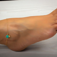 Turquoise anklet, ankle bracelet, gold anklet, foot jewelry, gold ankle bracelet, charm anklet, delicate anklet, bridesmaid gift,&quot;Okeanides&quot;