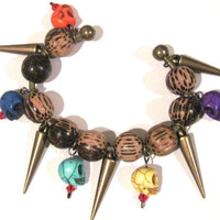 Halloween Skulls Spikes Bangle Bracelet Antique Brass Wood Stone