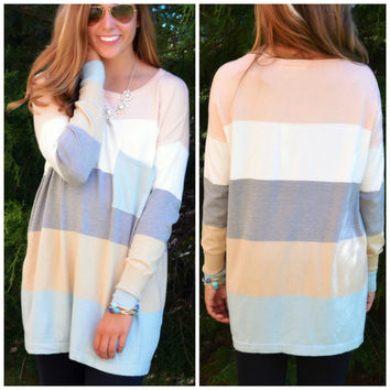 On The Horizon Seafoam Stripe Pocket Sweater