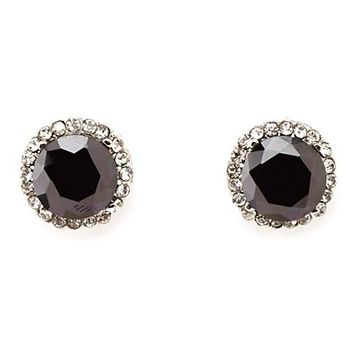 RHINESTONE-TRIMMED FACETED STONE STUD EARRINGS
