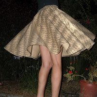 Full Circle Skirt Knee Length Golden Skirt Womens Skirt vintage style skirt