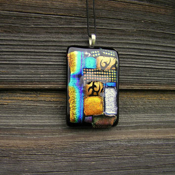 Colorful dichroic fused glass necklace pendant handmade free shipping