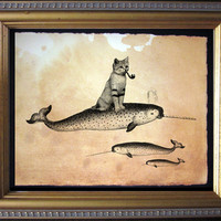 Sandcat Cat Riding Narwhal - Vintage Collage Art Print on Tea Stained Paper - Vintage Art Print - Vintage Paper