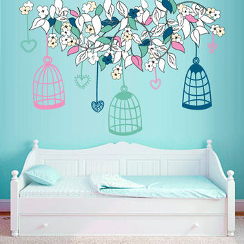 Full Color Wall Decal Mural Sticker Decor Art Flower Branch Birds Birbcage Cell Cage Nursery Kids Children Family Bedroom Dorm Baby (mcol3)