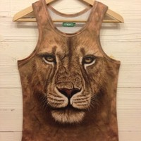 MENS AND WOMENS LION PRINT TANK