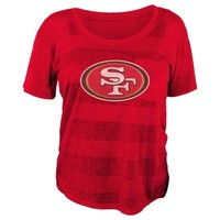 San Francisco 49ers Girls Junior Collection Striped Bolder Burnout T-Shirt – Red