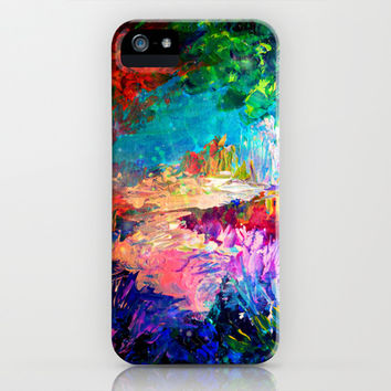 WELCOME TO UTOPIA Bold Rainbow Multicolor Abstract Painting Forest Nature Whimsical Fantasy Fine Art iPhone & iPod Case by EbiEmporium