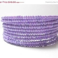 ON SALE Memory Wire Bracelet Purple Stacked Bracelet Beaded Wrap Bracelet