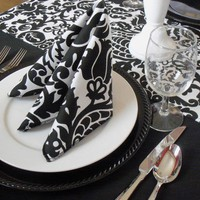 Wedding Black and White Damask Napkins Table Setting