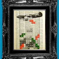 You're Playing Tetris - nintendo - ORIGINAL ARTWORK hand painted art print on 8x10 Vintage Dictionary page, Dictionary art, Dictionary print