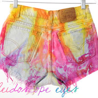 Vintage LEVIS Colorful Marbled Dyed Denim Destroyed High Waist Cut Off Shorts XS