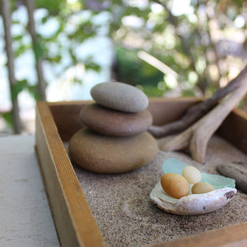 Relaxing  Stacking Stone Zen Garden with Natural Driftwood Tools One of a Kind Home Decor & beach inspired gift